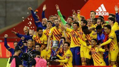 صورة تتويج فريق برشلونة بلقب بطل كأس ملك إسبانيا