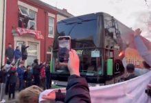 صورة تهشيم زجاج حافلة ريال مدريد في ليفربول