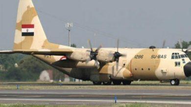 صورة طائرة عسكرية مصرية في طريقها الى ليبيا