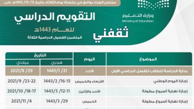 صورة التقويم الدراسي 1443 وزارة التعليم .. جدول التقويم الدراسي للثلاث فصول دراسية