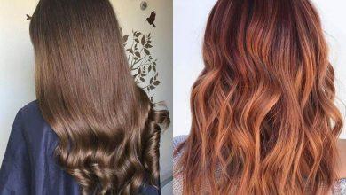 صورة طريقة صبغ الشعر لون بني محمرمثل صالونات التجميل بدون أمونيا